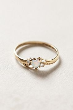Vintage Opal Heart Ring