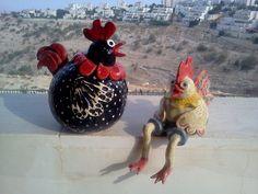 תרנגולים לגינה, עבודת יד, קרמיקה, ceramic artwork