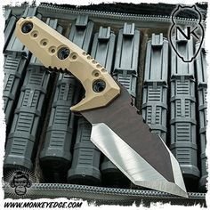 Nocturnal Knives: Yeti Tanto Raw/Satin Finish w/Nocturnal Tan G10
