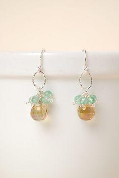 Summer Rain Crystal Gemstone Hoop Dangle Earrings