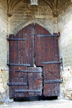 Old door in the Palace of the Popes (Palais des Papes) in Avignon, France. The construction of the largest medieval gothic palace in the world began in 1252 and it was opened in Door Knockers, Door Knobs, Door Handles, Cool Doors, Unique Doors, Windows And Doors, The Doors, When One Door Closes, Door Gate
