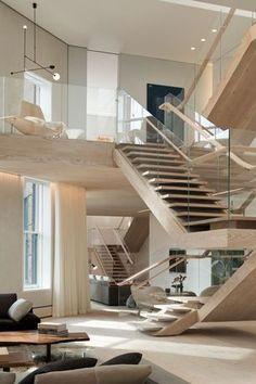 """""""SoHo Loft, NYC by Gabellini & Sheppard Associates. Home Room Design, Dream Home Design, Modern House Design, Home Interior Design, Interior Architecture, Modern Interior, Soho Loft, Loft Staircase, Staircase Design"""