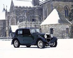 An poster sized print, approx (other products available) - 1934 Riley Falcon in the snow outside Palace House, Beaulieu - Image supplied by National Motor Museum - Poster printed in Australia Vintage Cars, Antique Cars, Vintage Auto, Retro Cars, Alfa Romeo Gtv 2000, Volkswagen, Poster Size Prints, About Uk, Photo Mugs