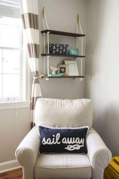 Nautical Nursery Decor - love the rope shelf and fun nautical decor items!