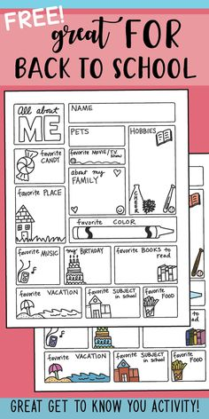 all about me freebie by science math doodles 2 First Day Of School Activities, 1st Day Of School, Beginning Of The School Year, Writing Activities, Classroom Activities, Middle School, Back To School Ideas For Teachers, Classroom Ideas, Back To School Art