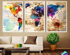 XL Map Push Pin World travel Art Print Poster Photo Paper