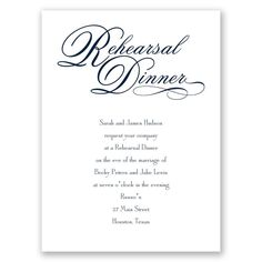 Easily personalized and shipped in a snap! Find stylish rehearsal dinner invitations like this truly elegant design from Invitations by Dawn.
