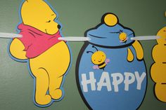 Winnie The Pooh Inspired Jumbo Birthday Banner on Etsy, $22.00