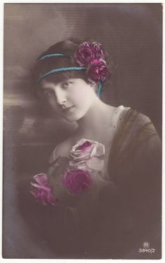 German edwardian postcard  Young lady with roses