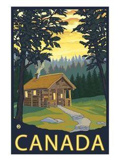 Canada, Cabin Scene Prints by Lantern Press at AllPosters.com