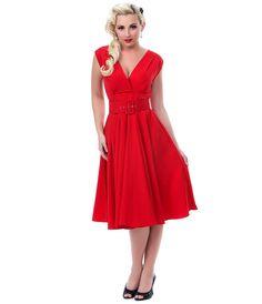 Heartbreaker Haute Red Milan Dress - Unique Vintage - Pinup, Holiday & Prom Dresses.