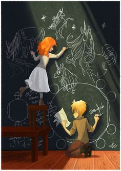 Melody and Joel from one of my favorite books, the Rithmatist, by Brandon Sanderson.