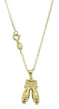 Gargantilha folheada a ouro c/ pingente em forma de sapatinhos - profissão bailarina - Linha  http://www.imagemfolheados.com.br/?a=3434