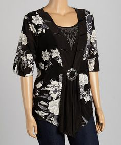 Another great find on #zulily! Black & Green Floral Layered Top - Plus by Simply Irresistible #zulilyfinds
