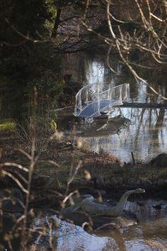 Tonkin Liu creates swing bridge to access Crystal Palace's Dinosaur Island Crystal Palace, Island, Park, Crystals, Expo 2015, South London, Pavilion, 19th Century, Garden Design
