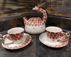 VINTAGE AFRICAN GIRAFFE TEA SET -