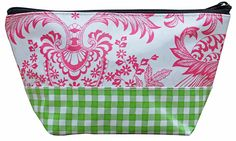 EL-Pink Lace/Gingham Green.   Cosmetic Bag- available in Small or Large. Never Stains, just wipe clean when your makeup spills or the chocolate bar melts! #sarahjanesoilcloth #love #madeintheusa www.simplysjo.com