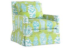 Lilla Swivel Chair, Turquoise/Lime