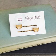 Lasercut Wooden Cat Hair Slides by Ginger Pickle