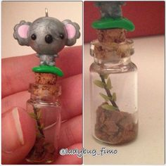 A tiny kawaii koala with some eucalyptus in the bottle   #polymerclay #clay #fimo #cernit #kawaii #cute #supercute #superkawaii #koala #charm #eucalipto #bottle #animal #pet
