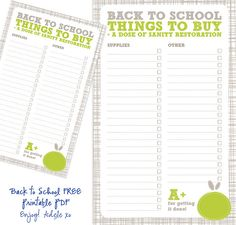 A simple back to school shopping list that you can print out