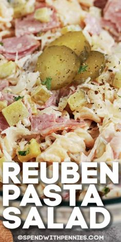 A fun twist on the original Reuben Sandwich, this pasta salad is creamy, tangy and easy to create! Make this Reuben Pasta Salad for your next BBQ or potluck! #spendwithpennies #reubensalad #reubenpastasalad #pastasalad #easy #cornbeef Creamy Pasta Salads, Pasta Salad Recipes, Spinach Salads, Reuben Sandwich, Salad Sandwich, Reuben Recipe, Beef Recipes, Cooking Recipes, Pizza