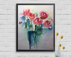 Original watercolor 11.8 x 15.7 inches (30 x 40 cm) Abstract painting picture art flowers painting flowers in the vase