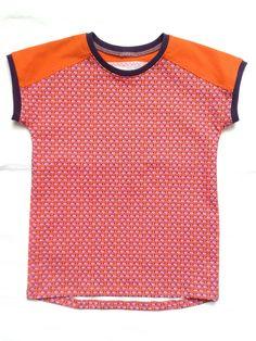 T-shirt vsn hamburger liebe zonnebrillen jersey met effen oranje en paarse boordjes