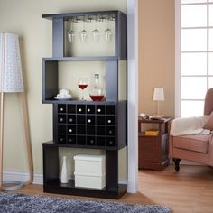 Furniture of America Darlene Tall Cappuccino 4-tier Wine Stand/ Room Divider