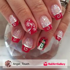 Red nail designs with glitter unique glitter acrylic with gel polish and hand painted designs inspired by Christmas Gel Nails, Christmas Nail Designs, Holiday Nails, Red Nail Designs, Acrylic Nail Designs, Acrylic Nails, Red Nails, Hair And Nails, Finger