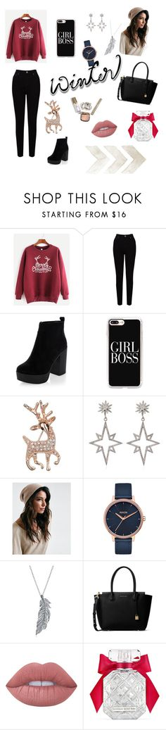 """Untitled #11"" by silviamachado20 ❤ liked on Polyvore featuring EAST, New Look, Casetify, John Lewis, Apples & Figs, Nixon, Stone Paris, MICHAEL Michael Kors, Lime Crime and Victoria's Secret"