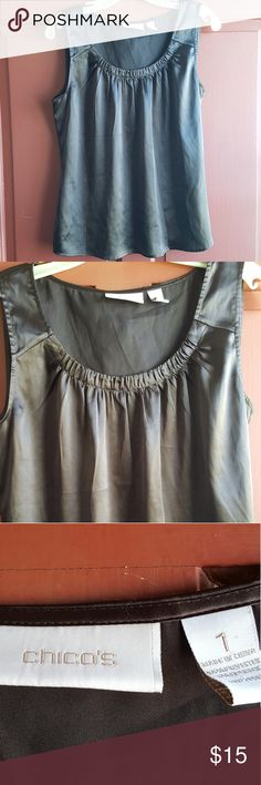 Chico's Chocolate Brown Satin Tank Top S VVGUC! VERY minimal ww. Chocolate brown satin sleeveless blouse by Chico's! Color shown best in 3rd photo. Size 1 (Small).   *10% OFF (or more) when you bundle any of my listings! Kids, Mens, and womens! Saves on shipping too! *Tons more on Mercari! No duplicates! Will not bundle between sites. Chico's Tops Blouses