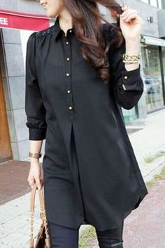 Stylish Shirt Collar Loose-Fitting Lace Splicing Long Sleeve Blouse For Women - Bluse Pakistani Fashion Casual, Pakistani Dresses Casual, Stylish Dresses For Girls, Stylish Tops For Women, Stylish Dress Book, Trendy Tops, Hijab Stile, Sleeves Designs For Dresses, Kurta Designs Women