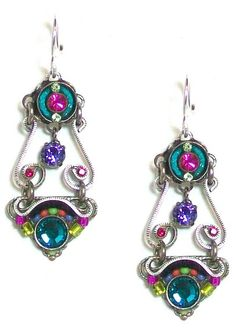 Amazon.com: Firefly Sterling Silver Elaborate Spiral Swarovski Crystal and Czech Bead Dangle Earrings in Multi-Color: Jewelry