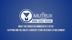 #Attorney #Tyson #Mutrux describes in this video What you should do immediately after slipping and falling at a grocery store or other establishments. Log on http://www.winningdefenselawyer.com/ and http://www.tysonmutrux.com/