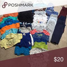 Baby boy bundle Gently worn name brand. Long sleeve onesies, shirt sleeve onesies, shorts, shirts and 1 pj set Other