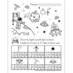 Fichier PDF téléchargeable En noir et blanc seulement 1 page  L'élève doit trouver et compter les objets dans le dessin. Il trace un X dans la bonne case. Amelie Pepin, Maternelle Grande Section, March Bullet Journal, Teaching Schools, French Classroom, Space Planets, Sistema Solar, Solar System, Teacher Resources
