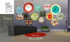 Mod The Sims - 14 Retro Wall Clocks