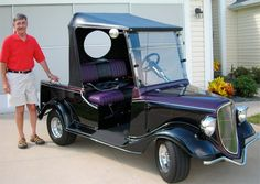this golf cart is a replica of a 1930s Roadster. Dad would have loved this toy!