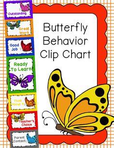 Classroom Behavior Chart, Behavior Clip Charts, Behaviour Chart, Butterfly Classroom Theme, Classroom Decor Themes, Behavior Management, Classroom Management, Parent Contact, Butterfly Clip Art