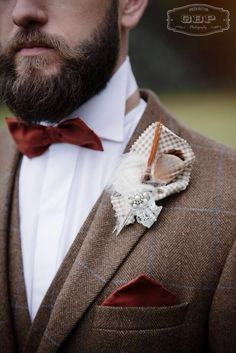 Handcrafted bespoke alternative buttonhole from Lilly Dilly's  #wedding #groom #ushers #bridal party #button hole #butonnierre #Lilly Dilly's #bespoke #alternative #handcrafted