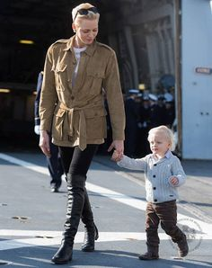 November 18, 2016 - Princess Charlene and her son Prince Jacques visited frigate Guepratte owned by French Navy that has anchored at Monaco Harbour