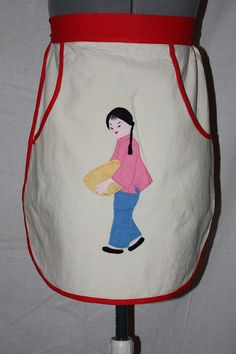 Vintage Half Apron, Sweet Cotton Apron Half Apron with appliques Chinese Girl, 1950's
