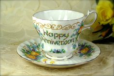 Yellow Roses Happy Anniversary Porcelain by HappyGalsVintage