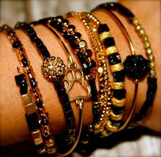 GAMEDAY Black and Gold Collection- 8 Piece Tiger Stackable Wrap Bracelets on Etsy, $36.00