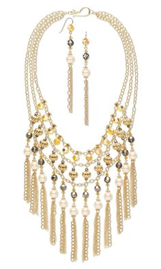 Triple-Strand Necklace and Earring Set with Swarovski Crystal Beads and Pearls, Vermeil Beads and 14Kt Gold-Filled Chain