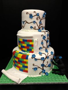 Fun lego and vine detail wedding cake! -Jo's Custom Cakes and Catering