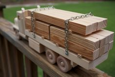 Wooden Flatbed Lumber Truck