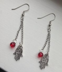 Beautiful Kabbalah Filigree Silver Hamsa Drop Chain Earrings with Red Glass Bead  & Silver Accents