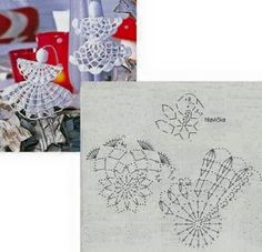 Galeria rozmaitości: Wzory szydełkowe-Boże Narodzenie Crochet Christmas Decorations, Christmas Crochet Patterns, Crochet Ornaments, Crochet Snowflakes, Holiday Crochet, Crochet Tree, Crochet Ball, Crochet Angels, Diy Crochet